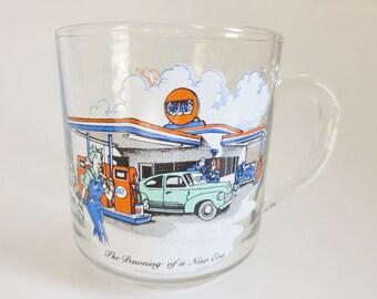Gulf Collector Series Glass Mug, Gulf Oil Company Promotional Glass Mug Vintage Advertising Collectible  Glass, Gulf Petroliana Memorabilia