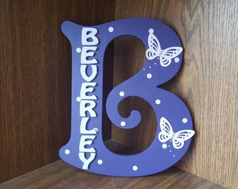 Handmade Personalised Purple Lilac Spotty Door Sign Plaque Wall Letter with Butterflies