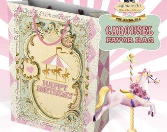 Carousel Favor Bag - Carousel Birthday Party - Carousel Printable Bag - Carousel Decorations - Carrusel - Printable Party Bag