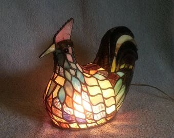 Stained Glass Rooster Lamp