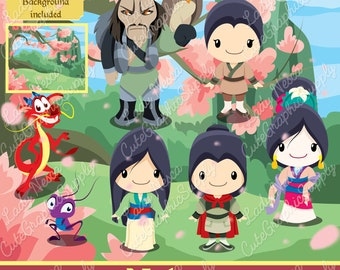 Mulan clipart, Princess clipart, Princess digital clipart, disney inspired clipart -LN0156-