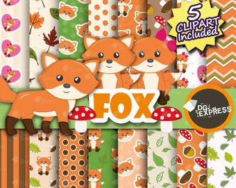 """Fox Clipart + Digital Paper : """"Fox Digital Paper"""" - Woodland Animal Clipart, Forest Birthday Party Invite, Baby Shower, Instant Download"""