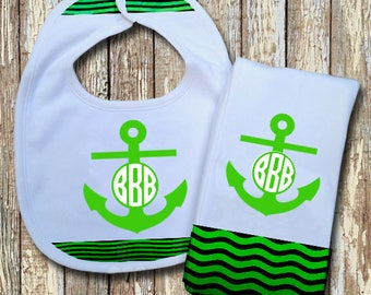 Anchor Monogrammed Baby Bib with matching Burp Cloth Set (Green)