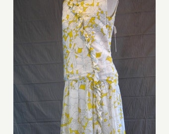 On Sale Vintage 1960's Sleeveless Summer Dress Yellow and White Floral Print