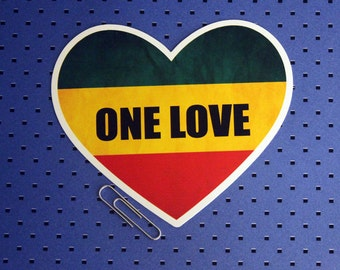 One Love Rasta Heart Bumper Sticker