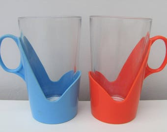 Vintage Drinking Glasses with Colourful Plastic Bases Retro 1960s 1970s Pair Caravan Camper Beach Hut Kids Kitchen Drinkware Blue Orange