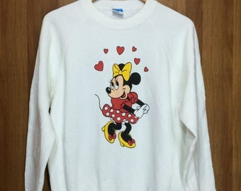 80s Vintage Minnie Mouse Poly Cotton Sweatshirt Large