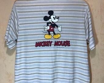 70s 80s Mickey Mouse Walt Disney Jc Penny Stripes Polo Shirt Blend Polyester Cotton