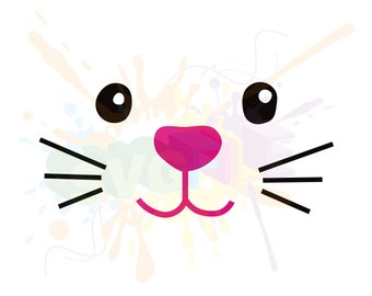 Easter Bunny Face SVG Files for Cutting Cricut Rabbit Designs - SVG Files for Silhouette - Instant Download