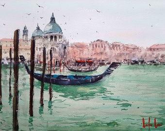 Santa Maria Cathedral, Venice Watercolor Painting Art Print