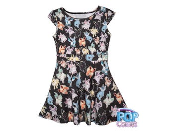 Eeveelution Kids Size Dress Pokemon Inspired Eevee Girls Dress Eeveelutions Dress Nintendo*MADE 2 ORDER, Month*