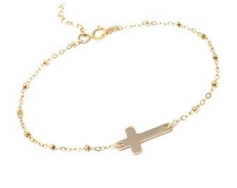 Sideways Cross Bracelet - Celebrity Inspired Jewelry - Everyday Jewelry - Satellite chain