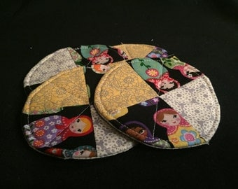 four fabric coasters