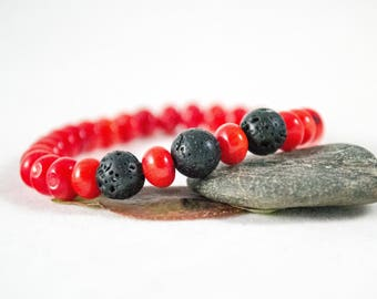 Red Coral, Bead bracelet