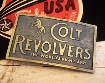 "Vintage COLT REVOLVERS Brass Belt Buckle 3.75"" Large Western Cowboy Americana"