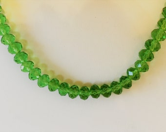 Grass Green Crystal Beaded Necklace