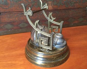 Antique Patented 1861 Barometer Inkstand Modern Gothic Inkwell with Quill Dip Pen Stand Patented Design