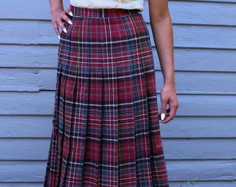 Vintage 1950's Red Pleated Wool High Waisted Circle Skirt