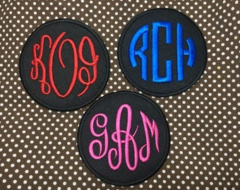 Personalized  Custom Initials 3 Letter Monograms iron on patch, Circle , 2.75""