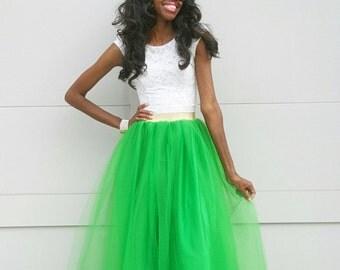 """Tulle Maxi Skirt with Gold/Silver Metallic Waistband """"Tara"""" - XS - 6XL Plus Size"""