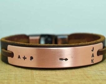 Pfeil-Lederarmband Herren, Herren Armband, personalisierte Herren Armband, personalisierte Herrenschmuck, Freund Geschenk, Mens Geschenk, Valentinstag Geschenk