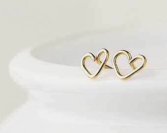 Little gold heart earrings - 14k gold fill - tiny heart earrings - heart post earrings - gold earrings uk -  girlfriend gift