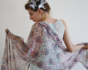 Ivory floral scarf ivory cream sheer scarf ivory floral parisian scarf cream sheer shawl floral wrap light flower scarf gift for her LOUVRE