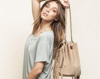 Camel Bucket bag, Christmas gift, Fringed Drawstring bag, Leather Fringe bag, Camel Sac bag, Leather shoulder bag, Sale!