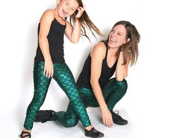 Mermaid Leggings for Kids in Emerald