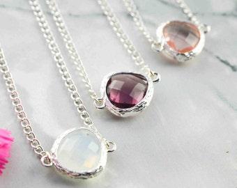 Collier Minimaliste Pendentif pierre de naissance en verre de cristal - Collier délicat pour elle - Collier argent - pour tous les jours