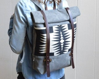 Waxed Canvas Backpack with Walking Rock Pendleton® Fabric / Pendleton®, Canvas, Leather