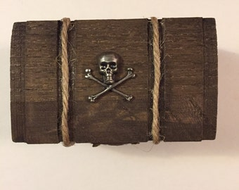 Scull And Crossbones Walnut Stained Chest, Pirate Chest, Ring Box, Ear Ring Holder, Keepsake Ring Box, Special Ring Box, Special Message Box