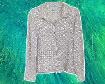 Semi Sheer Ivory Embossed-Like Daisy Floral Buttoned Shirt