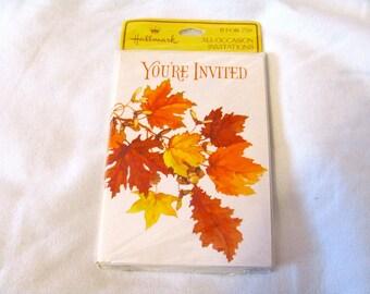 Vintage Hallmark Fall Leaves Invitations