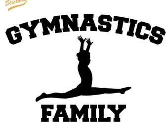 Silhouette Gymnast with Gymnastics Family Text -  Vinyl Car Decal Sticker