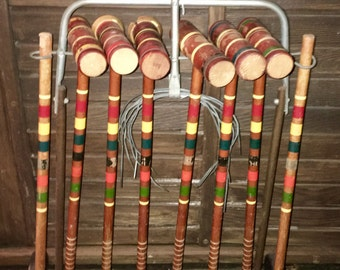 Vintage Wooden Croquet Complete Set and  Rolling Cart