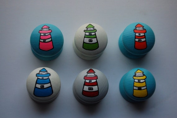 Lighthouse Drawer Knobs/ Cupboard Handle Set of 6- Hand Painted - 3 Sizes Available 30mm, 40mm, 53mm Red Blue Green Yellow Pink Orange