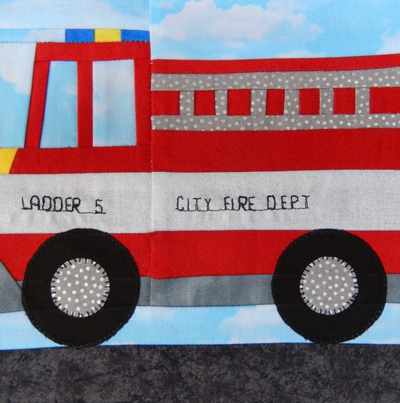 Foundation Paper Pieced Fire Truck Vehicle Pdf Quilt Block