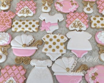 1 doz Baby Girl  monogram shower Cookies