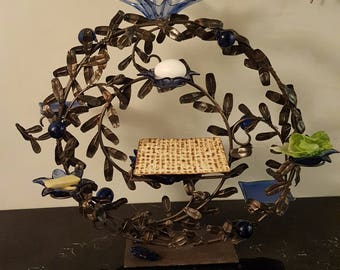"Passover Seder Plate ""Blue leaves"""