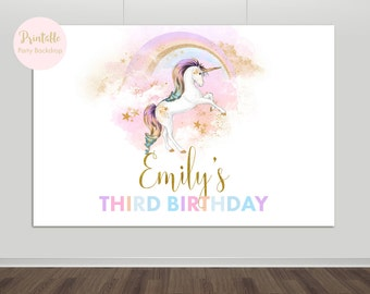 Unicorn Party Backdrop, Unicorn Backdrop, Unicorn Birthday, Photo Backdrop, Rainbow Party, Printable Backdrop,Photography Backdrop YOU PRINT
