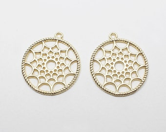 P0552/Anti-Tarnished Matt Gold Plating Over Brass/DreamCatcher Style Circle Pendant/21mm/2pcs