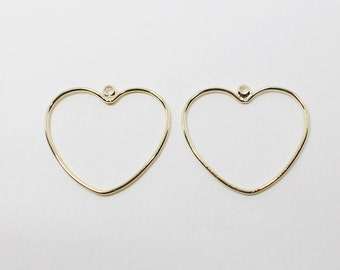 P0588/Anti-Tarnished Gold Plating Over Brass/Stubby Heart Pendant Large/21x20mm/4pcs