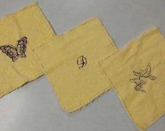 3pk handmade baby washcloths, kids washcloths, letter D, butterfly, hummingbird, yellow, 8x8 washcloths, bundle,gift, embroidered, RTS