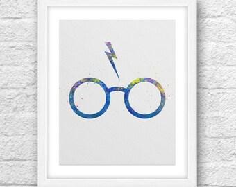 Glasses Harry Potter, Watercolor Art, Harry Potter Watercolor, Kids Room Art, Nursery art, Printable art, Harry Potter Glasses