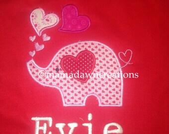 Valentine Elephant cotton short sleeve tshirt