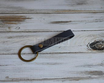 Navy Minimalist Leather Keychain - Antique Brass Accented Leather Key Chain - Slim Leather Keychain