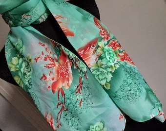 Scarf shawl cover up wrap Sarong flowers Green red orange birthday wedding anniversary gift