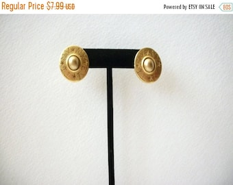 ON SALE Vintage CAROLEE Signed Gold Tone Oval Scripture Clip On Earrings 121416