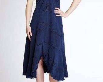 ZULAMA Organic Woven Cotton Embroidered Asymmetrical  Dress